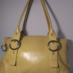 Handbags - Preston York yellow leather shoulder bag